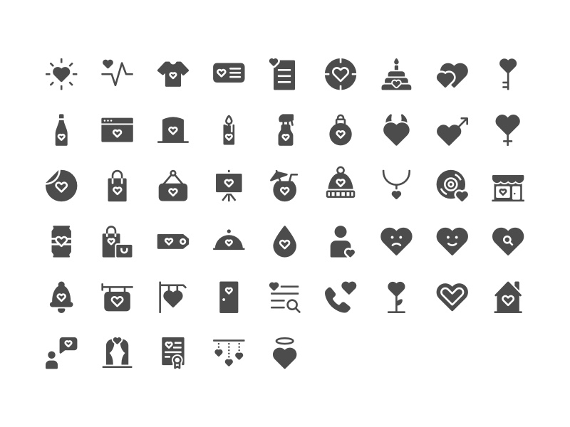 The full Heartful Icon Set