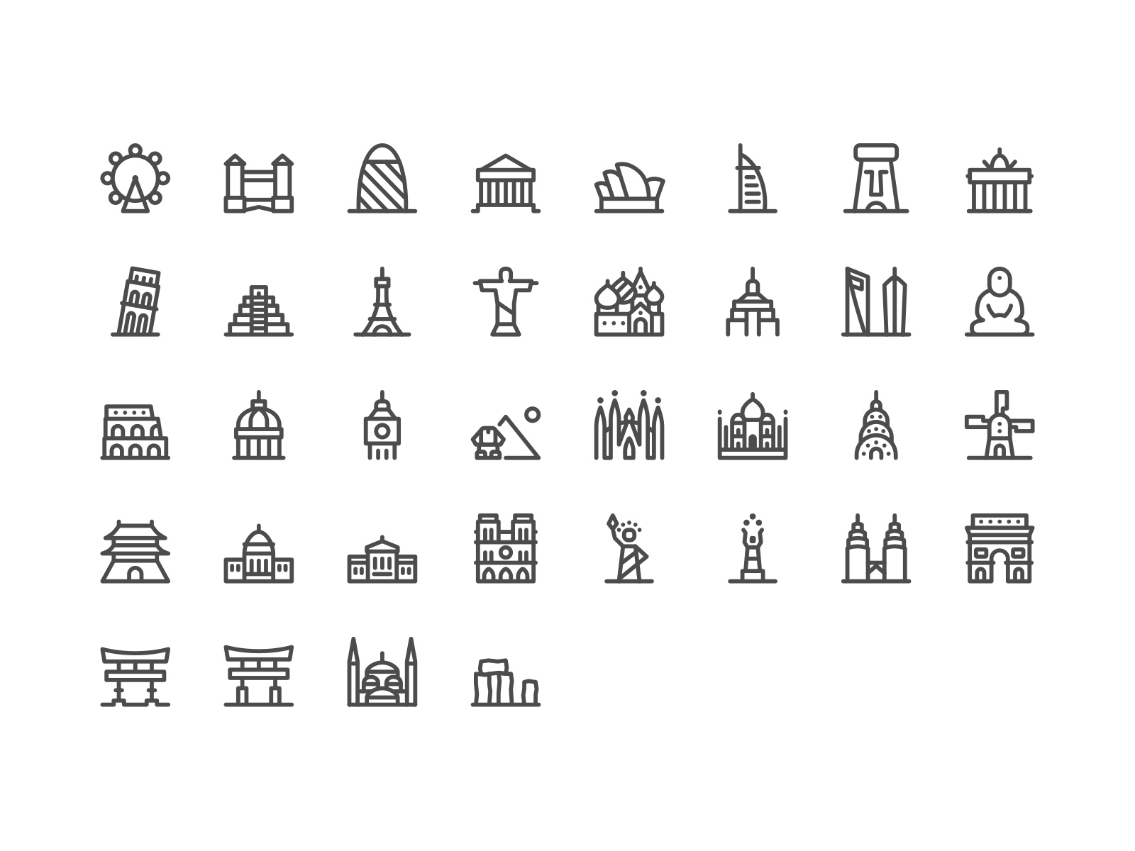 The full World Landmarks Icon Set