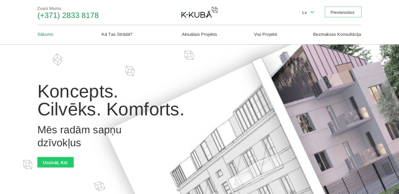 The home screen of K-Kubā